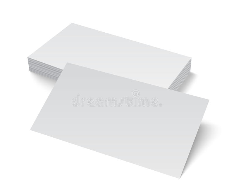 Pile de carte de visite professionnelle vierge de visite sur le fond blanc illustration libre de droits