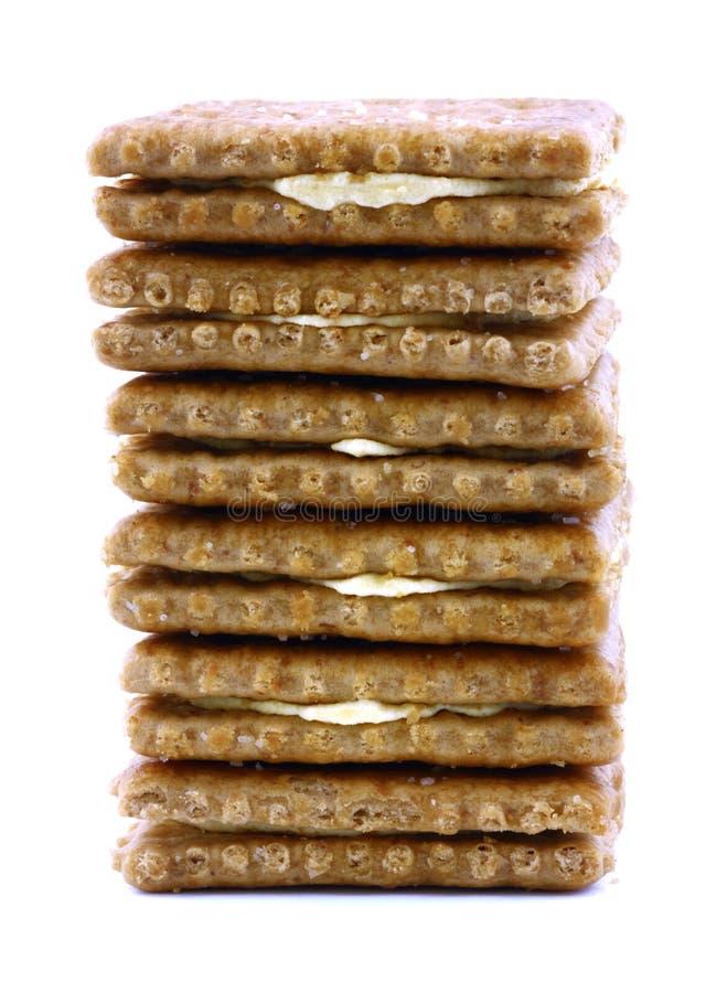 Pile de casseurs de cheddar de blé image stock