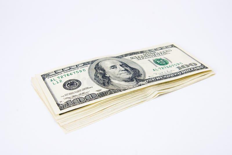 Pile de cents billets d'un dollar images libres de droits