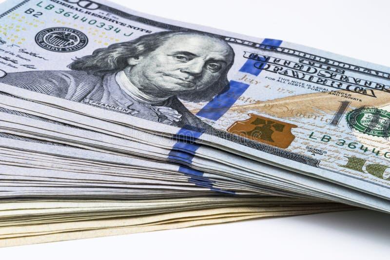 Pile de cents billets d'un dollar Pile d'argent d'argent liquide dans cent billets de banque du dollar Tas de cent billets d'un d photos stock