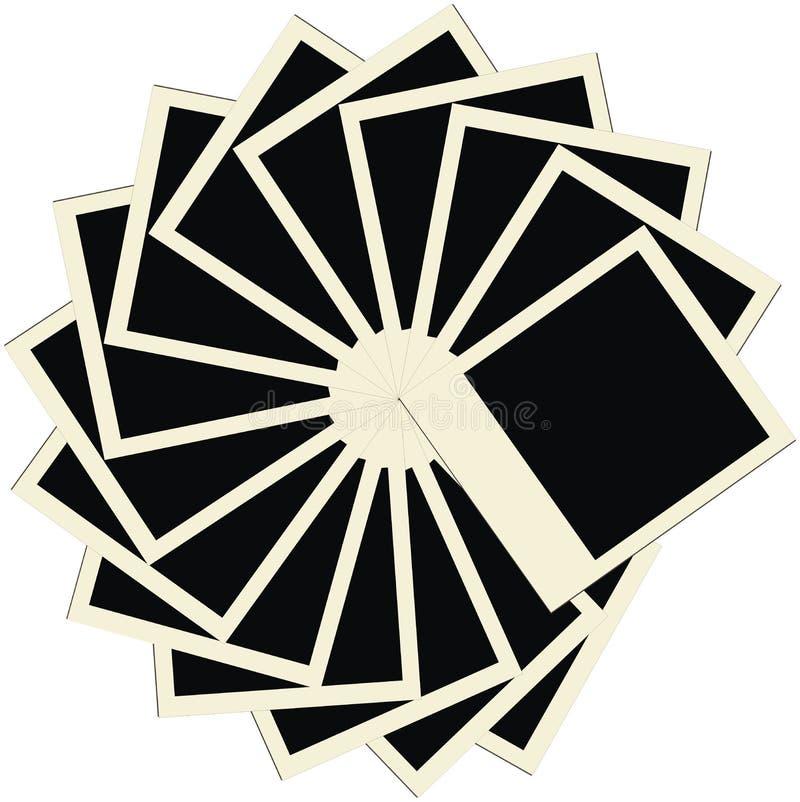 Pile de cercle de trames polaroïd blanc de photo illustration de vecteur