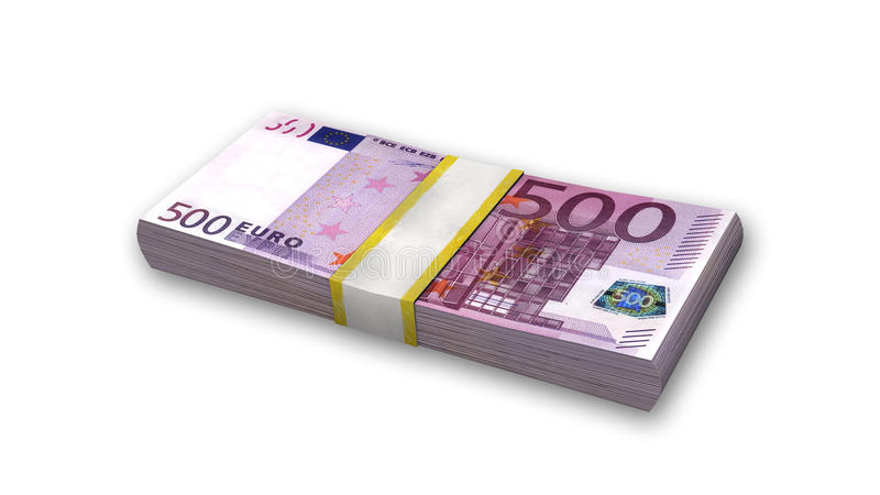 Pile de cinq cents euro factures, argent sur le blanc illustration stock