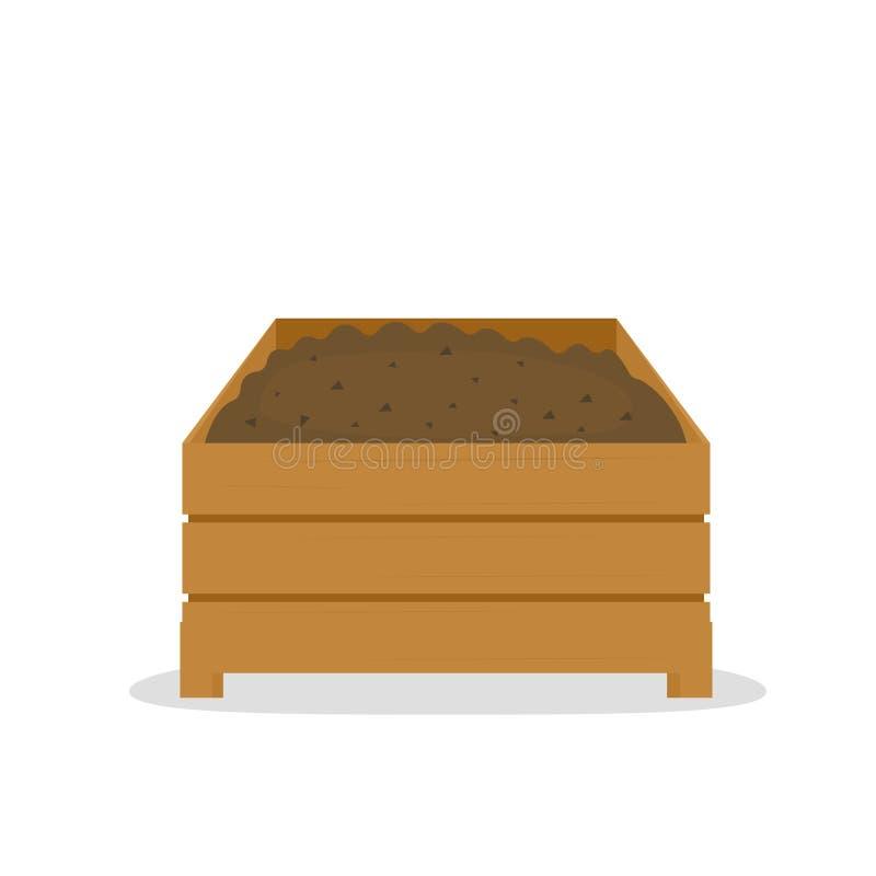Pile de compost dans la boîte en bois illustration stock