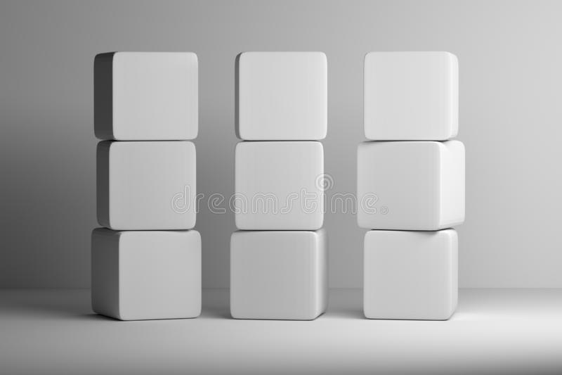 Pile de cubes arrondis blancs sur le fond blanc illustration de vecteur