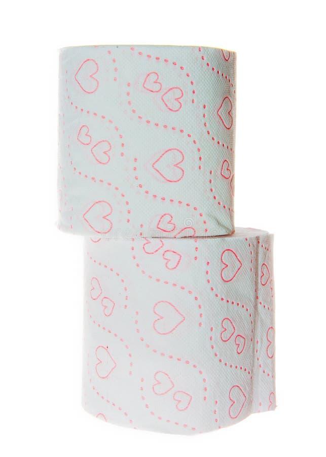 Pile de deux petits pains de papier hygiénique avec le modèle de coeurs image stock