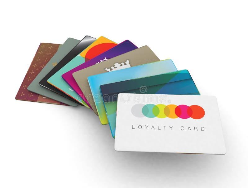 Pile de différentes cartes de récompense de fidélité illustration libre de droits