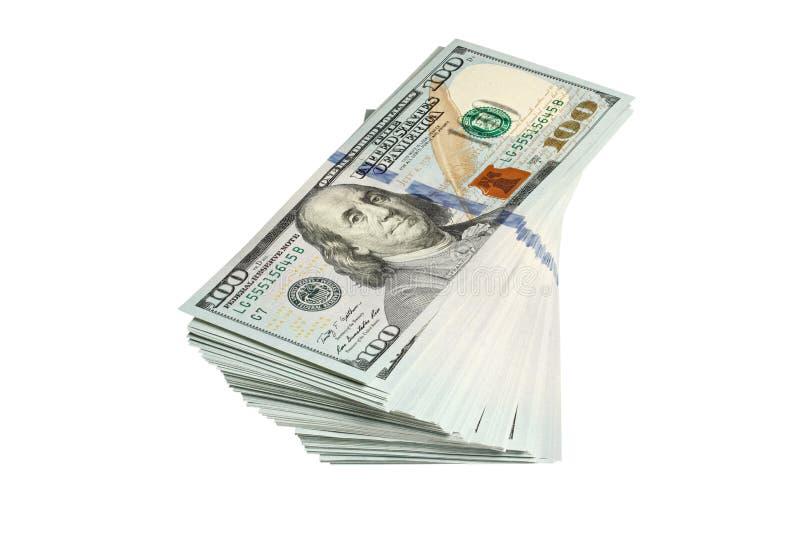 Pile de 100 dollars de billets de banque d'isolement sur le blanc images libres de droits