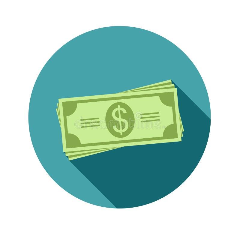 Pile de dollars Factures ou argent de papier Icône dans un style plat avec l'ombre Vecteur, illustration EPS10 illustration de vecteur
