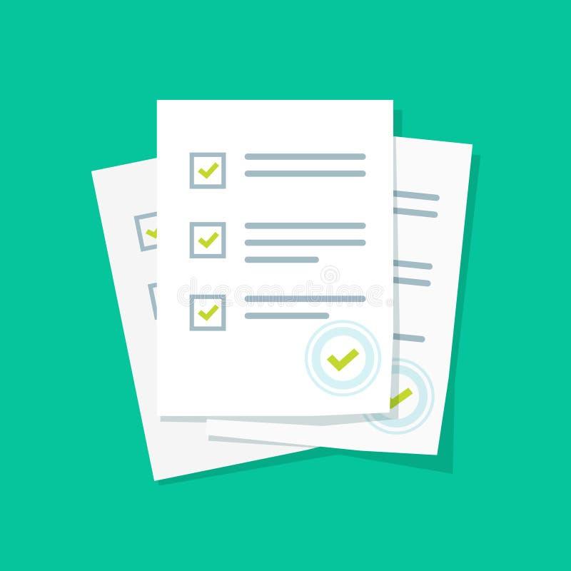Pile de feuilles de papier de forme d'enquête ou d'examen avec l'évaluation répondue de liste de contrôle de jeu-concours et de r illustration libre de droits