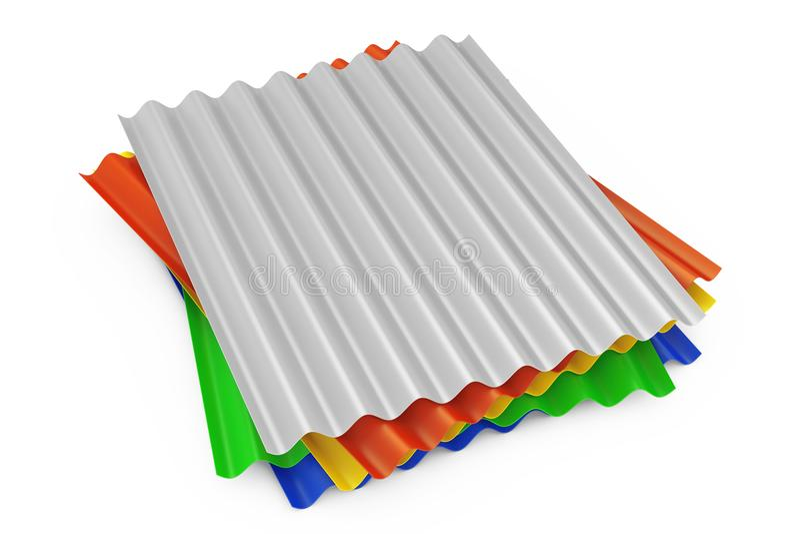Pile de feuilles de vague galvanisées par zinc en acier en métal de couleur pour le toit illustration libre de droits