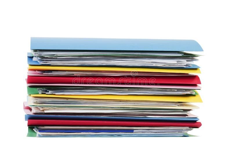 Pile de fichiers d'isolement sur le blanc photo stock