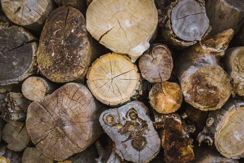 Pile de fond en bois naturel de rondins photos stock