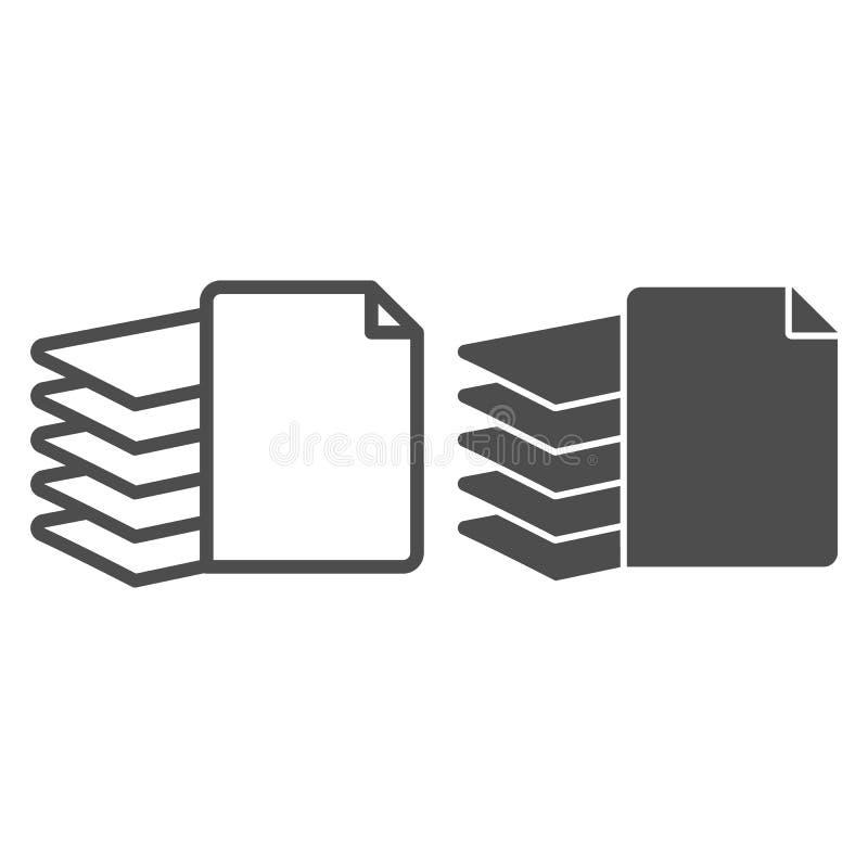 Pile de la ligne et de l'icône de papier de glyph Illustration de vecteur de dossiers d'isolement sur le blanc Pile de conception illustration stock