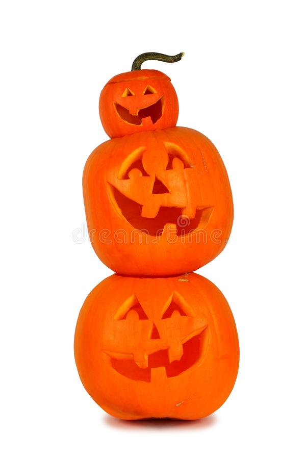 Pile de lanternes de Halloween Jack o d'isolement sur le blanc photo libre de droits