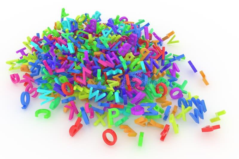 Pile de lettres colorées d'alphabets illustration de vecteur