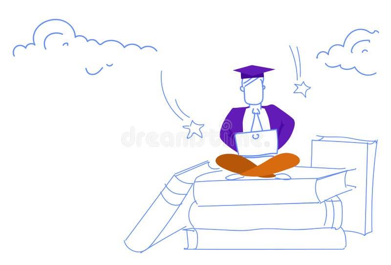 Pile de livre se reposante de pose de lotus d'homme utilisant l'étude en ligne réussie de chapeau d'obtention du diplôme d'étudia illustration stock