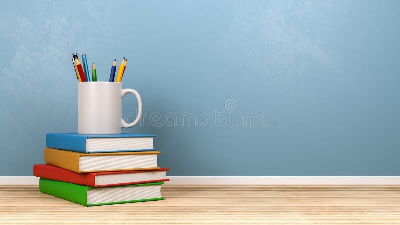 Pile de livres et d'approvisionnements de papeterie illustration libre de droits