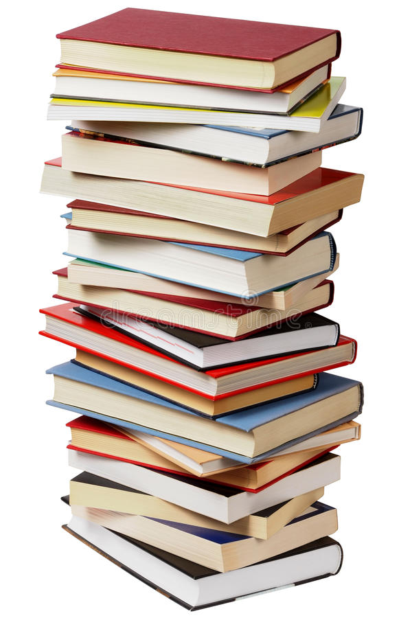 Pile de livres sur le blanc photos stock