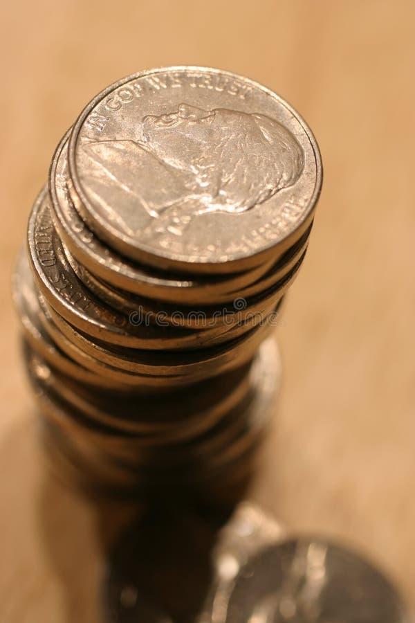 Pile de nickels des USA image libre de droits