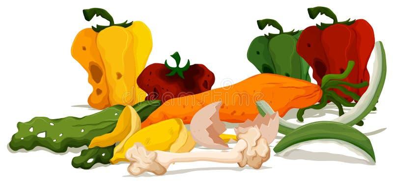 Pile de nourriture putréfiée illustration libre de droits