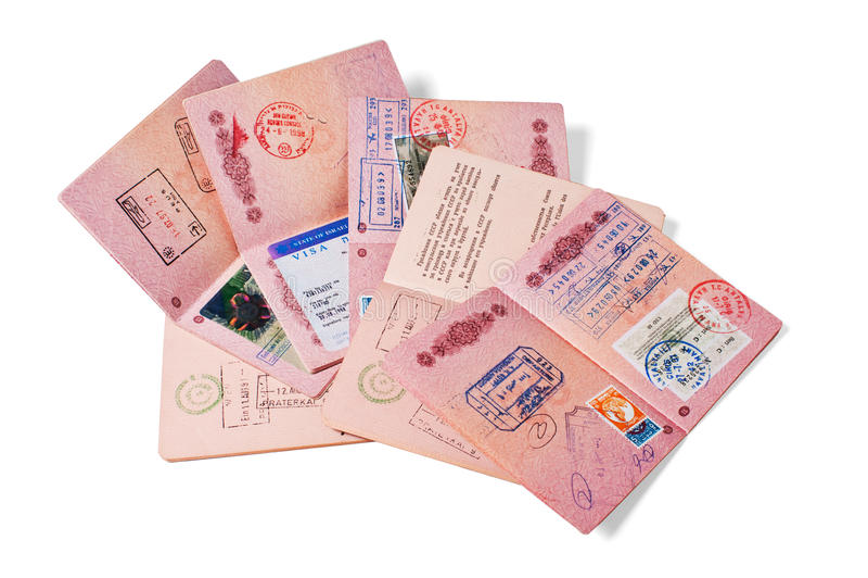 Pile de passeports image stock