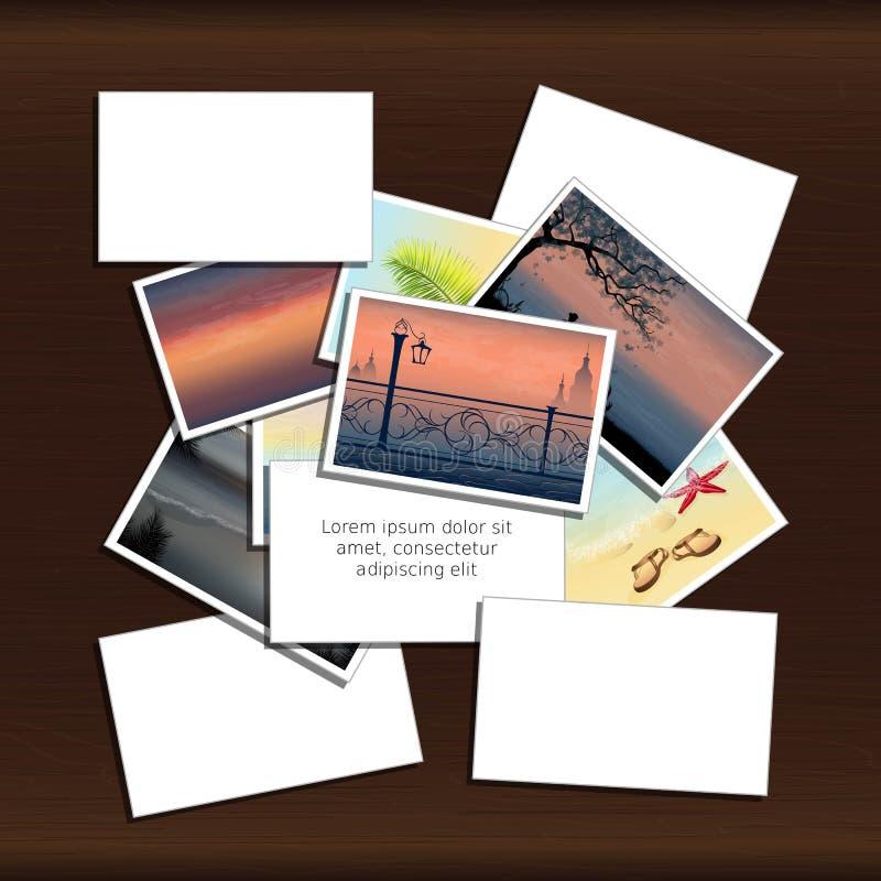Pile de photos sur le fond en bois avec l'endroit pour l'inscription illustration de vecteur