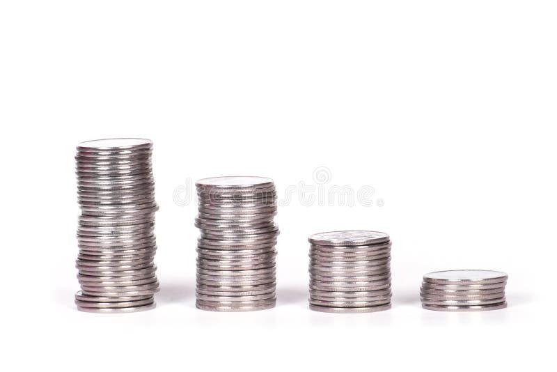 Pile de pièce de monnaie d'isolement sur le blanc photo libre de droits