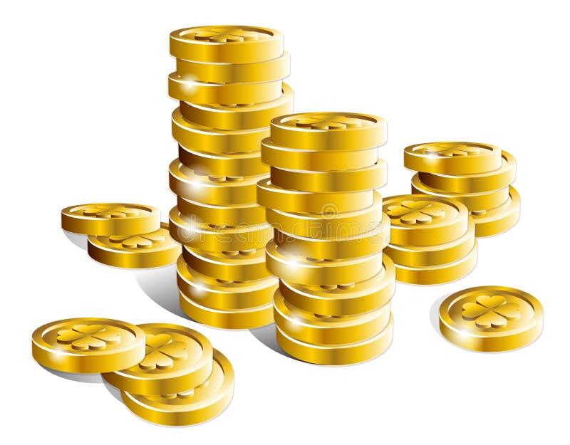 Pile de pièces d'or brillantes de vecteur d'isolement sur le fond blanc illustration stock