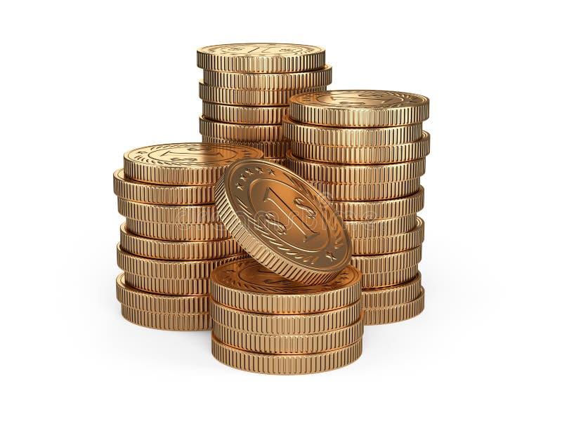 Pile de pièces d'or Concept de récompense d'argent illustration stock