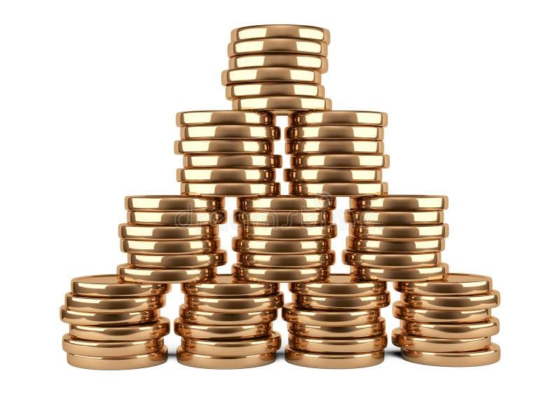 Pile de pièces d'or d'isolement sur le blanc illustration stock
