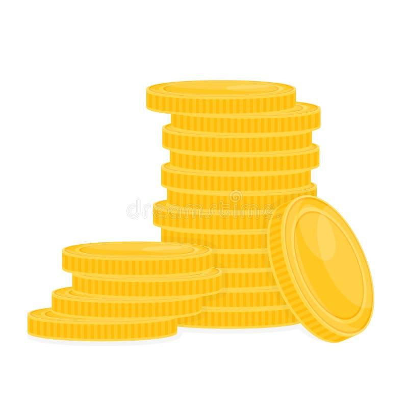 Pile de pièces d'or sur le blanc illustration stock