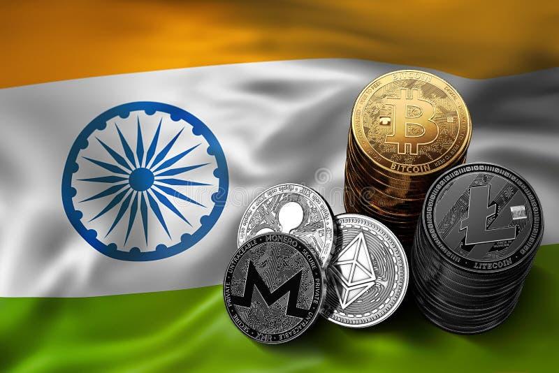 Pile de pièces de monnaie de Bitcoin sur le drapeau indien Situation de Bitcoin et d'autres cryptocurrencies dans l'Inde illustration libre de droits