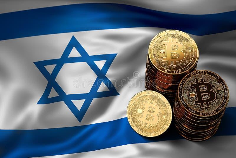 Pile de pièces de monnaie de Bitcoin sur le drapeau israélien Situation de Bitcoin et d'autres cryptocurrencies en Israël illustration de vecteur