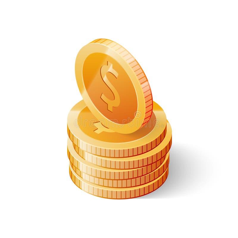 Pile de pièces de monnaie du dollar d'or d'isolement sur le fond blanc Illustration isométrique de vecteur illustration stock