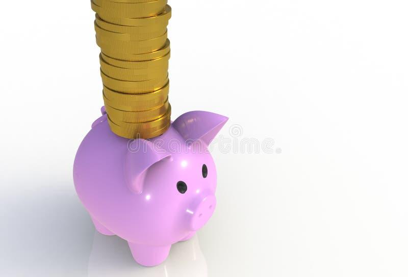 Pile de pièces de monnaie sur la tirelire rose d'isolement sur le blanc illustration libre de droits