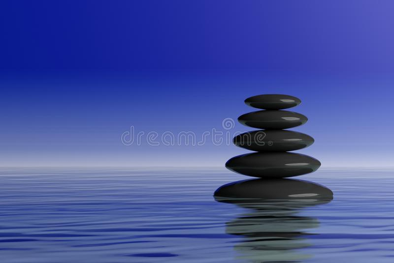 pile de pierres de zen du rendu 3d dans l'eau illustration libre de droits
