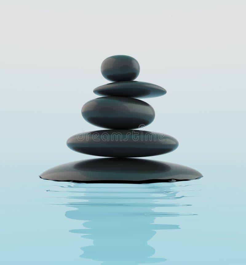Pile de pierres noires de zen dans l'eau illustration de vecteur