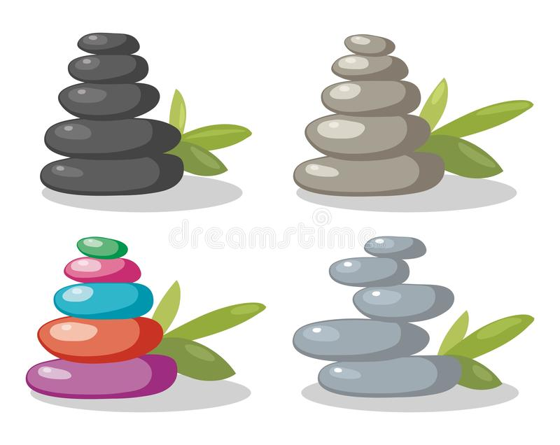 Pile de pierres de roche de zen de vecteur dans l'équilibre illustration de vecteur