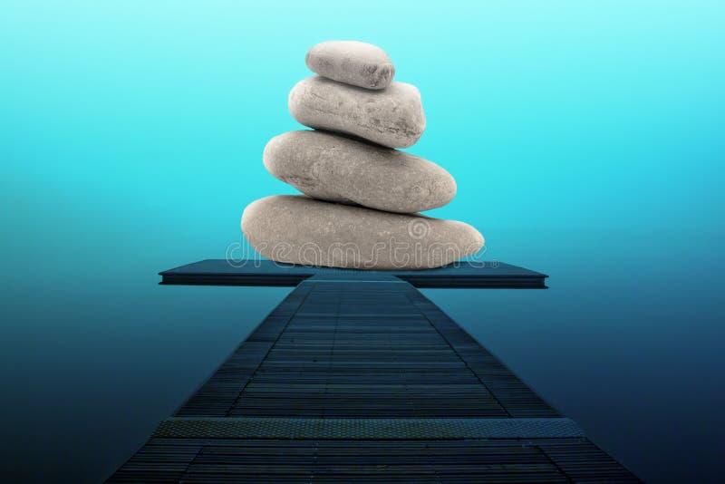 Pile de pierres sur le pilier Concept de s?r?nit? et d'harmonie photographie stock libre de droits