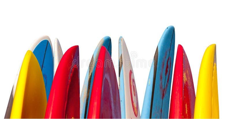 Pile de planches de surfing d'isolement images libres de droits