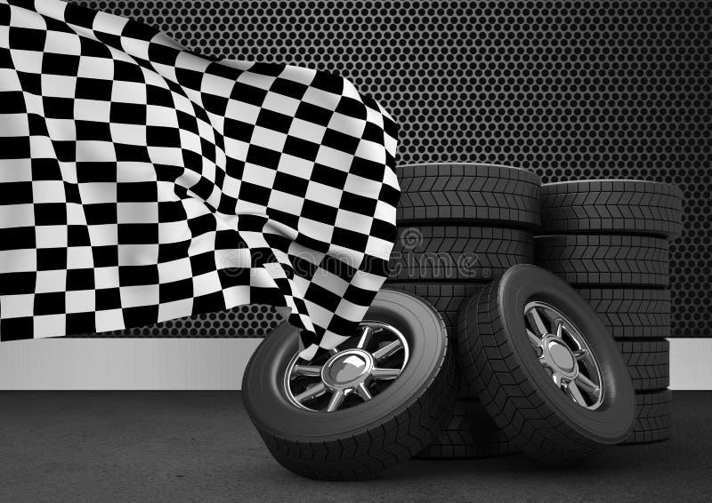 Pile de pneus avec le drapeau à carreaux sur le fond noir illustration libre de droits