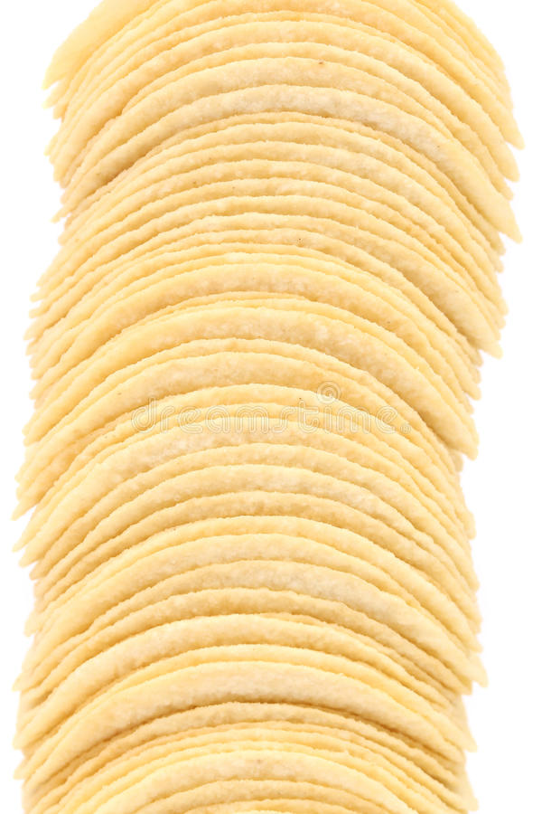 Pile de pommes chips. photographie stock