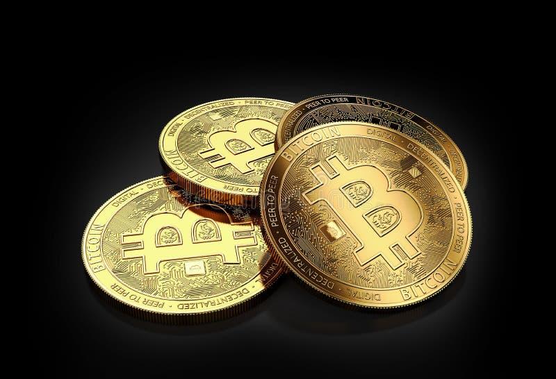 Pile de quatre Bitcoins d'or s'étendant sur le fond noir illustration libre de droits