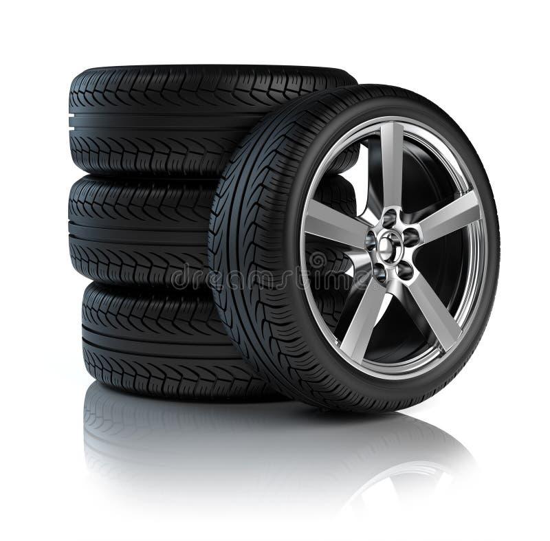 Pile de roues de véhicule illustration de vecteur