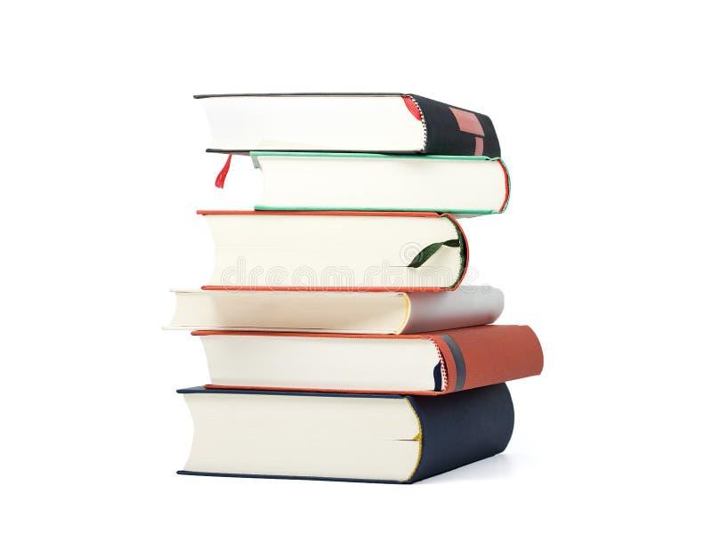 Pile de six livres en blanc photographie stock libre de droits