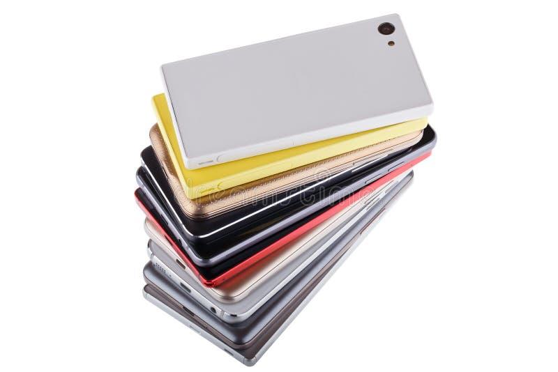 Pile de téléphone portable Tas des différents smartphones photo libre de droits