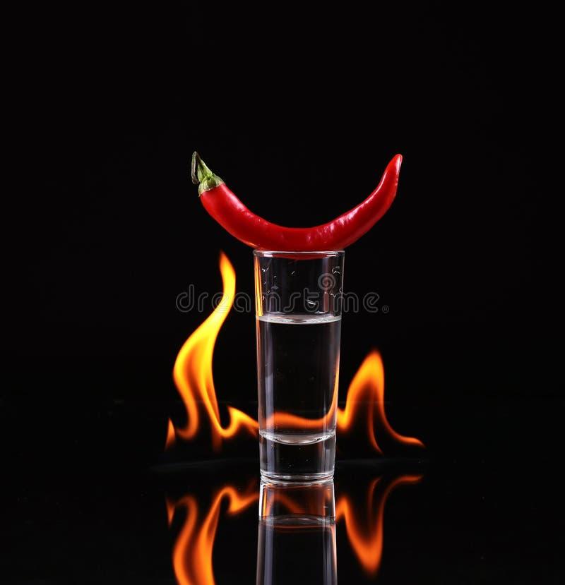 Pile de tequila sur le feu photographie stock libre de droits