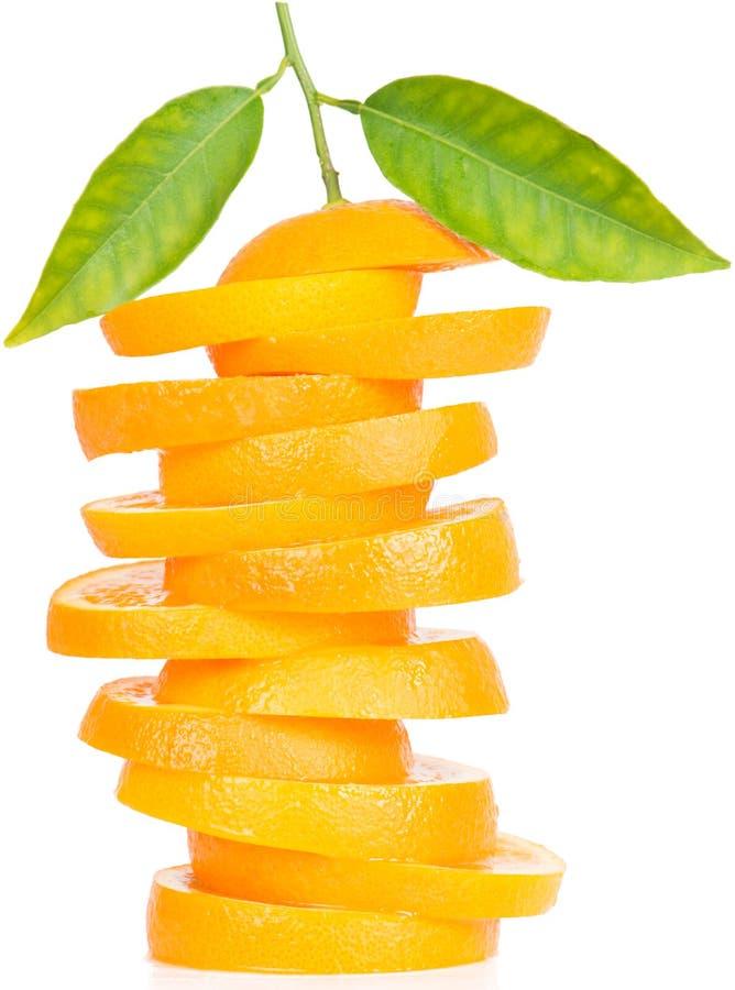 Pile de tranches oranges de fruit photo stock