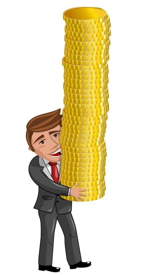 Pile de transport d'homme d'affaires de bande dessinée des pièces de monnaie d'or illustration stock