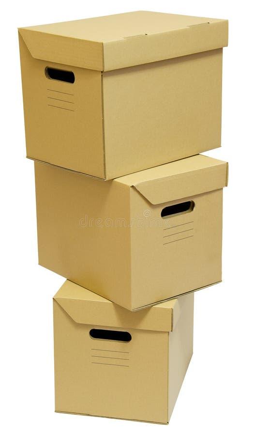 Pile de trois boîtes en carton photographie stock libre de droits